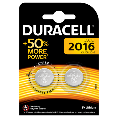 Duracell CR2016 3V Lithium Coin Cell Battery 2016 DL2016 BR2016 SB-T11 (pk of 2)