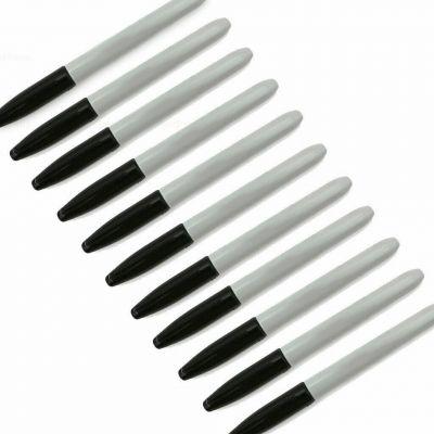 Pack of 12 Permanent Markers Black Fine Tip Marker Pens Bullet