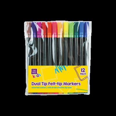 12 x Dual Felt Tip Pens Children Colouring Activity Brush & Fine Tips Double