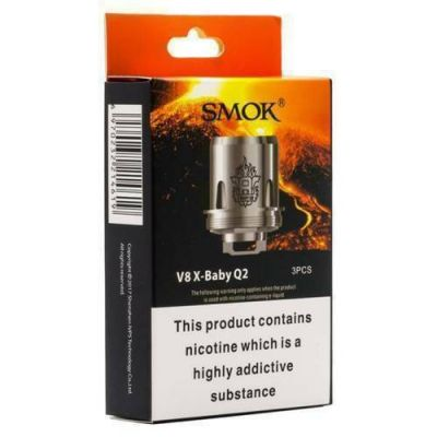 SMOK TFV8 V8 X-Baby Q2 0.4ohm 40-70W Dual Coils Pack of 3 Authentic UK Seller